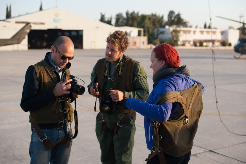 Team members Andrea Zerbini, Mat Dalton and Rebecca Banks going through pre-flight checks. APAAME_20151001_RHB-0003